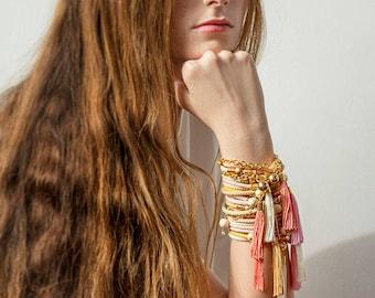 Fringe Bracelet, Tassel Bracelet, Tassel Jewelry, Boho Bracelet, Bohemian Bracelet, Chain Bracelet, Modern Bracelet, Spring Jewelry