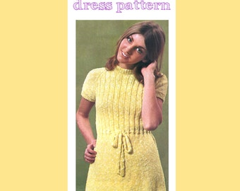 Vintage 1970 Icecream Parlor Crochet Dress Pattern, Sizes 34, 36, 38 , Instant Download, PDF, 3 pages