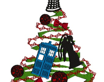 Instant download~MaryMeridius~machine embroidery design~Dr WHO TREE~Merry Christmas~Tardis~Time Lord~Dalek~Machine~Weeping Angel~Bow Tie~
