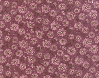 Moda Fabrics by the Yard Sandy Gervais Prints Charming Mums Dark Berry Traditional Reproduction Cotton Quilting Fabric Floral Print Rose
