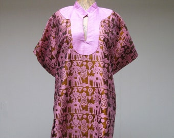 Vintage 1950s Ethnic Top / 50s Woven Silk and Linen Exotica Tunic / Small