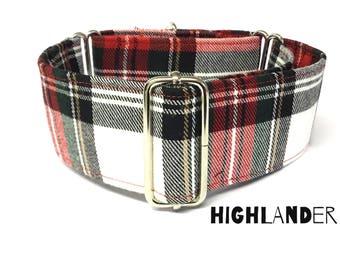 Stewart Dress Modern Tartan Martingale Dog Collar, Scottish Martingale, Plaid Martingale/Greyhound Collar/Whippet Collar 38mm/50mm, Lurcher