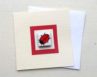 Ladybird Birthday Card, Ladybug Card, Greeting Card, Blank Card, Thankyou Card, Magnet Card, Kids Card, Card for Children, Insect Card,