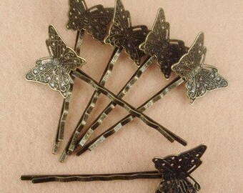 20%off HC-27ANT 10pcs Antique Brass Bobby Pin W/Little Butterfly Filigree, NICKEL FREE