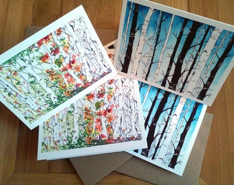 Birch Forest, Four Seasons, Boxed Cards, Note Card Set, Her Nature Gift, Woodland, Blank Cards, All Occasion Cards, Nature Lover, Set of 6