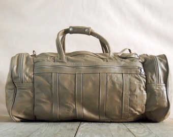 Vintage Tan Grey Leather Duffel Bag