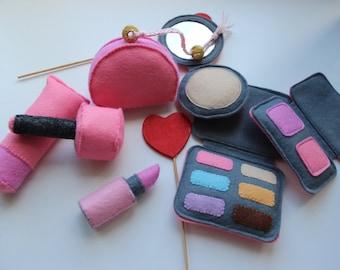 Felt make up set, felt cosmetics, felt lipstick, felt toys. 7 felt toys PATTERNS + TUTORIAL SCHEME