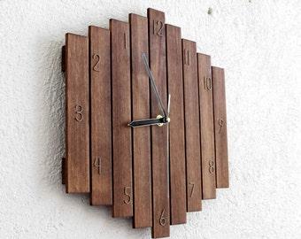 Reverse Wall Clock, Backward Clock, Wall Clock, Wooden Wall Clock, Living Room Clock, Unusual Gift, Designer Clock, Modern Clock, Big Romb