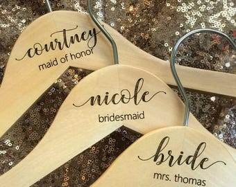 Personalized Bridesmaid Hanger - Wooden Engraved Hanger - Bridal Dress Hanger Calligraphy names dates and titles!!