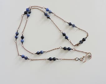 beaded necklace, sodalite beaded necklace, copper wire wrap necklace