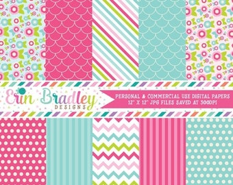 80% OFF SALE Digital Paper Pack Personal and Commercial Use Pink and Blue Flowers