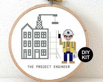 Cross Stitch Kit Project Engineer. Gift for engineer dad. Easy cross stitch kit including wooden embroidery hoop