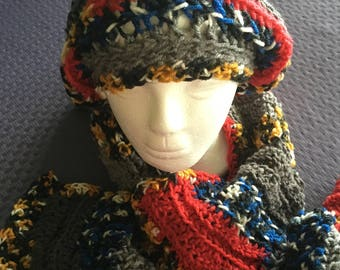 Blue, Gold, Red, Gray Slouch Hat and Scarf Set