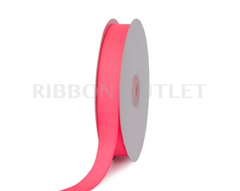 "7/8"" Bright Neon Pink Grosgrain Ribbon 50 Yards Per Roll"