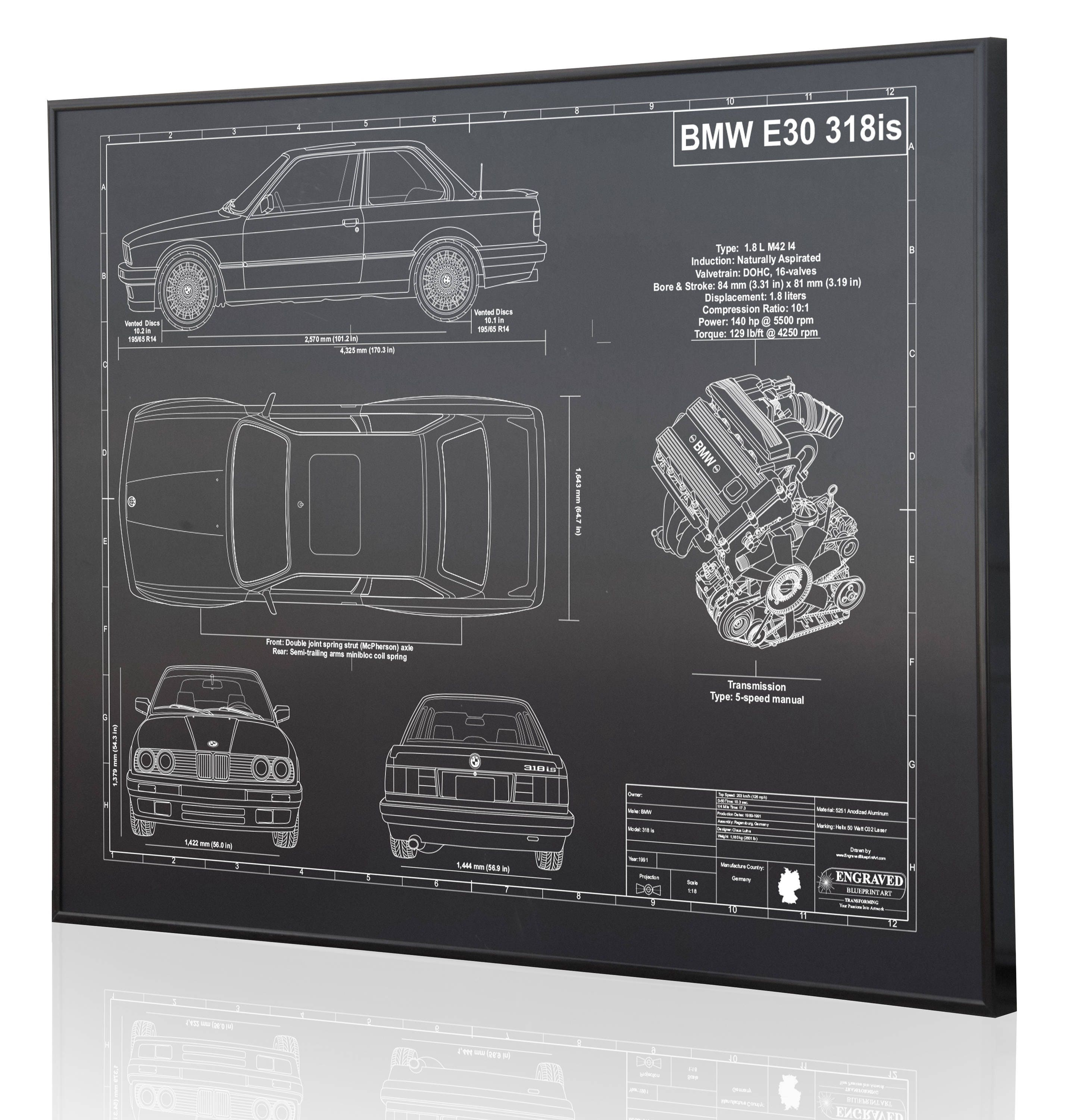 BMW E30 318is Laser Engraved Wall Art Poster. Blueprint Sign