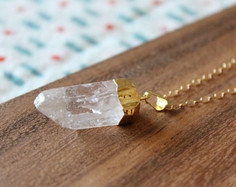 large quartz point - minimal gold filled - 24 inches