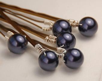 Purple Pearl Bobby Pins, Swarovski Dark Purple 8 mm Crystal Pearls on Bronze Hair Pins, Set of 6, Wedding Hair Pins, Purple Hair Clips