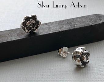 Stud Earrings, Fine Silver Flowers, Post Earrings, Handmade, Artisan Studs, Wild Roses, Artisan Jewelry