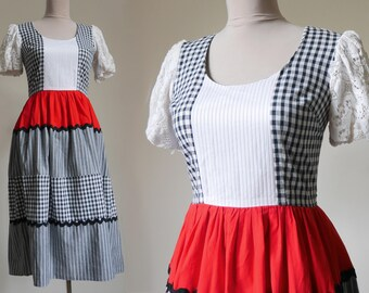 Plaid White Black Red Dress Cotton dress Puffy short sleeve Full skirt Dirindl dress Country dress Peasant dress Vintage dress Tiered dress