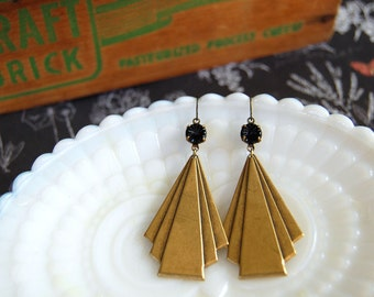 antique brass large deco dangle earrings with black carved glass stones - gatsby style