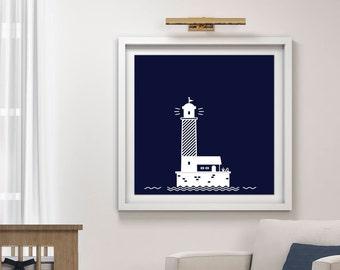 Digital Nautical Nursery Print, Digital Lighthouse, Nursery Lighthouse Print, Instant Download, Navy White Lighthouse, Nursery Decor Print