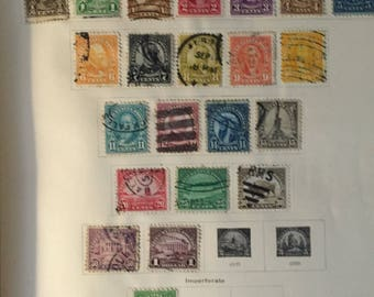 SALE 1941 US American Stamp Album USA Postage Stamp Collection Album w Mostly Early American Stamps Some 19th Century Most 1920s-30s