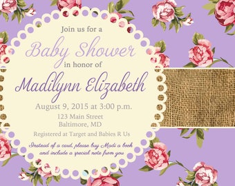 Printable Shabby chic Baby Shower Floral