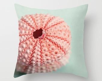 decorative pillow cover, throw pillow, photography pillow cover, sea urchin photo, pink beach decor, beach pillow, blue decor