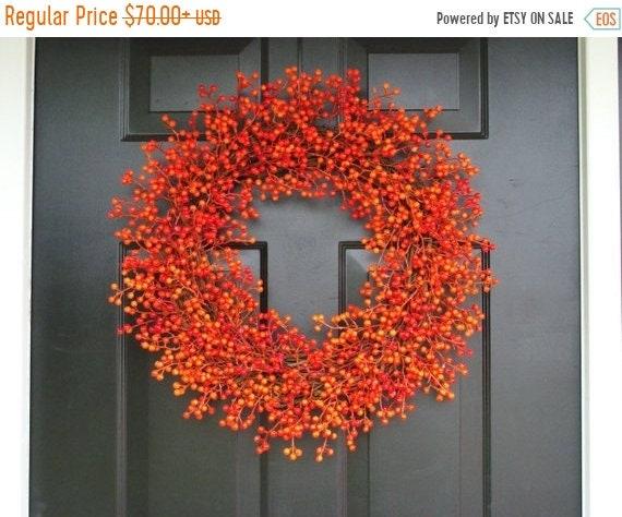 SUMMER WREATH SALE Orange Weatherproof Berry Wreath, Fall Wreath, Halloween Decor, Halloween Wreath Decoration, Weatherproof Berries