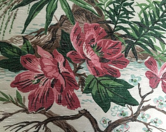 Spectacular Woodland Inspired Floral Barkcloth with an Old Florida Vibe// Vintage 40s Fabric// Upholstery// Drapery