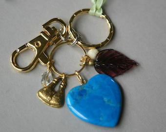 Heart Charm Keychain with Dangling Charms and Purse Hook