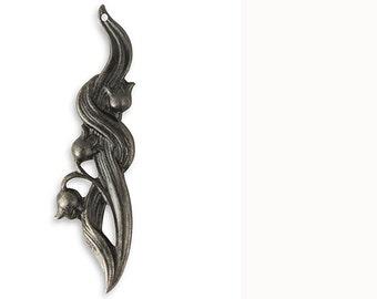 1 piece Vintaj Arte Metal Black Lily of the Valley 55x14mm Arte Metal-Etched Art Metal Jewelry Findings Craft Supplies Tools