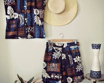 Swell Dame shorts & teatimer with hawaiian print / Made to measure/Many fabric options