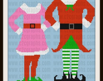 Elf Couple Afghan, Crochet Pattern, Elf Couple C2C Graph, Elf Couple Graphghan
