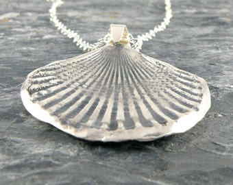 Silver Seashell Necklace, Sterling Silver Necklace Gifts For Her, Sea Shell Pendant, Seashell Jewelry, Beach Jewelry Oxidized Pendant