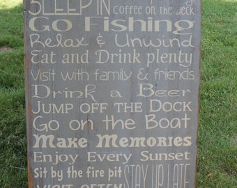 Custom Cabin Rules Sign primitive Typography Word Art  24x36