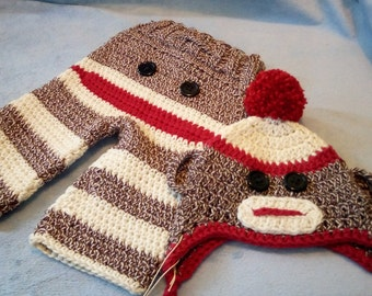 Newborn Crochet Sock Monkey Set Pants and Hat