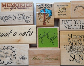 11 Various Phrase Rubber Stamps, Free Shipping