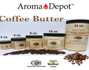 Coffee Butter Butter Organic Cold Pressed Premium Quality from 2 oz up to 3 Lb Tub Skin, Hair & Body FREE SHIPPING!!!