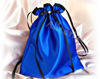 Royal blue and black wedding bridal drawstring bag, wedding money dance bag. Police thin blue line themed wedding accessories.