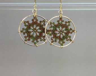Nautical doily earrings, camo hand-dyed silk thread, 14K gold-filled