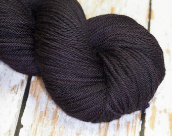 Hand Dyed Yarn KM Worsted Superwash Merino Wool in Black