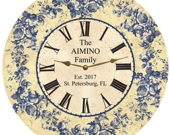 Personalized Floral Blue Toile Clock