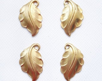 4 Raw Brass Domed Leaves