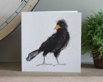 Blackbird Greeting Card - Bird Card, Blank Inside, Garden Bird
