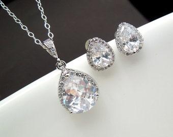 Wedding Jewelry set Crystal Bridal Earrings cubic zirconia Bridal Earrings Set Crystal Wedding Necklace and Earrings Bridesmaid jewelry MINA