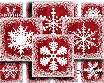 digital collage sheet 1inch squares snowflakes instant download printable for pendants