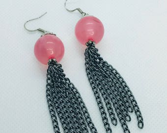 Pink Bubble Gum Chain Drop Earrings