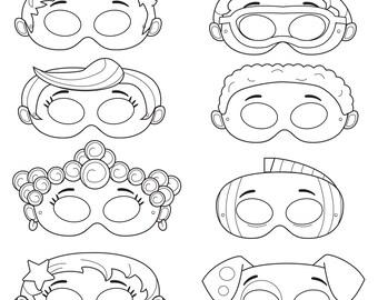 Mermaid Printable Coloring Masks, fish mask, puppy mask, dog mask, mermaid masks, under the sea, cartoon masks, guppy mask, fish, sea party