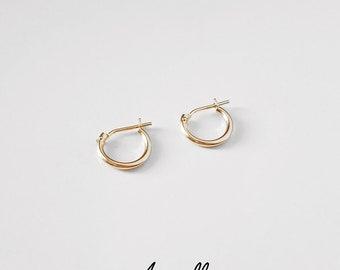 14k Gold Hoops 10mm, 12mm SOLID GOLD Hoop Earrings,click hoops,easy snap hoop, huggie hoop,tiny hoops,simple snug hoops,1 earring or 1 pair